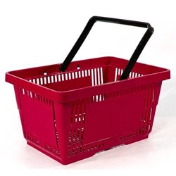 22L Plastic Shopping Basket - Red