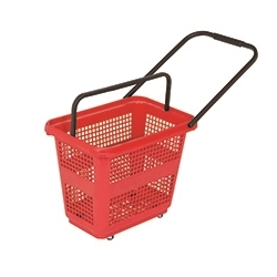 30L 4 Wheeled Trolley Basket - Red